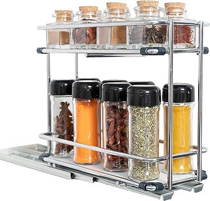 Cubi Spice - Especiero de Cocina Extraible para Armario - Organizador de Especias y Condimentos - Estanterías Metálicas de Acero Inoxidable con 2 ...