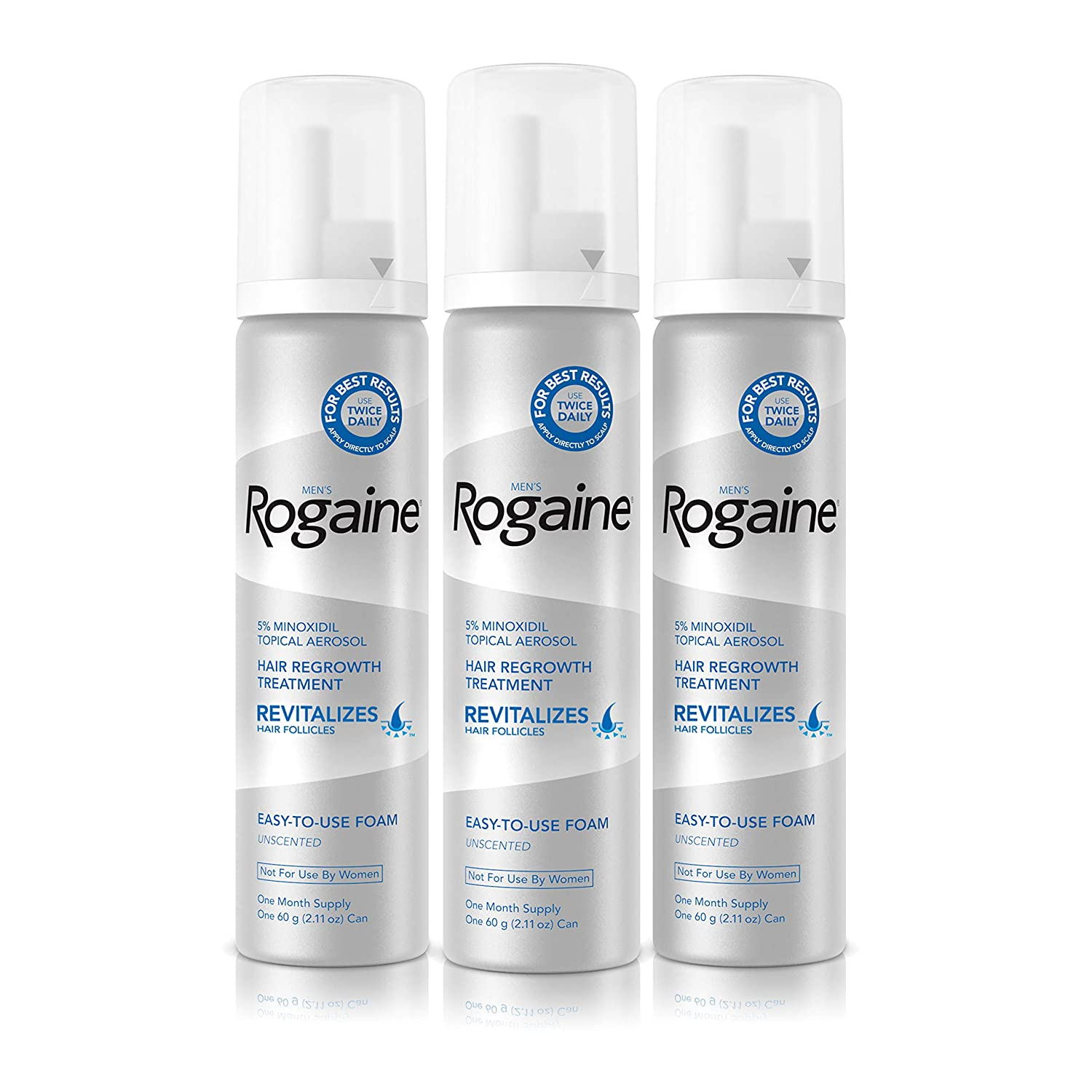 Mens Rogaine 5% Minoxidil Foam for Hair Loss and Hair Regrowth, Topical Treatment for Thinning Hair, 3-Month Supply, 2.11 Oz, Pack of 3