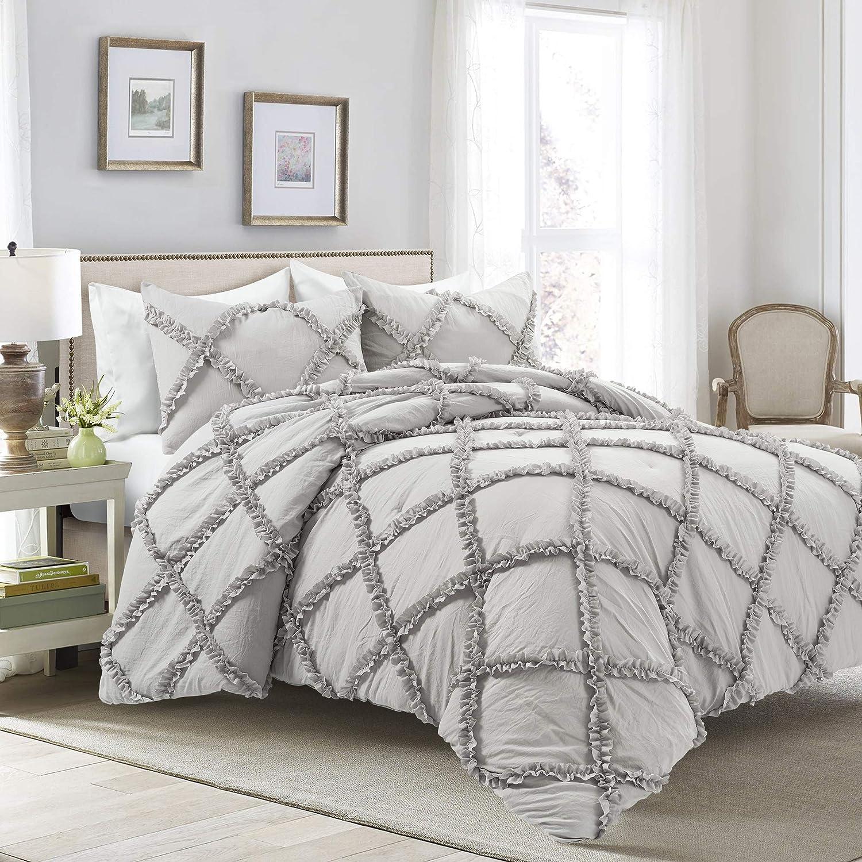 Lush Decor, Light Gray Ruffle Diamond 3 Piece Comforter Set, King