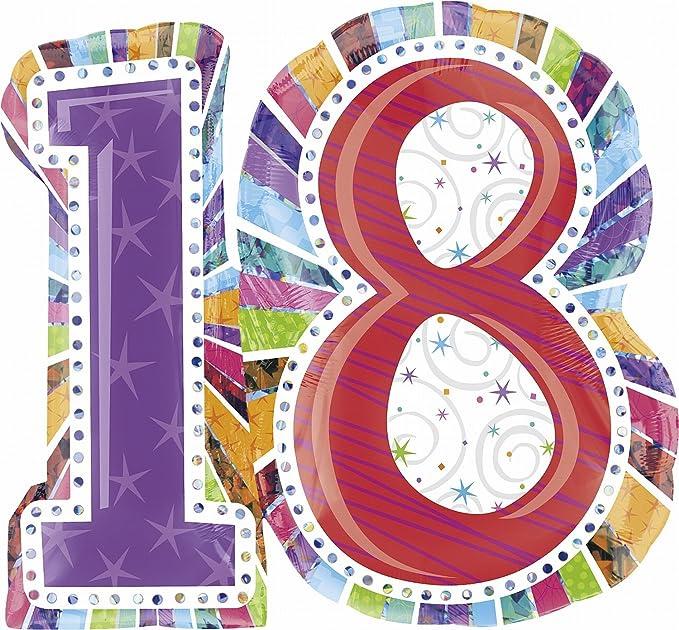 Amazon.com: Anagram Internacional radiante Cumpleaños 18 ...