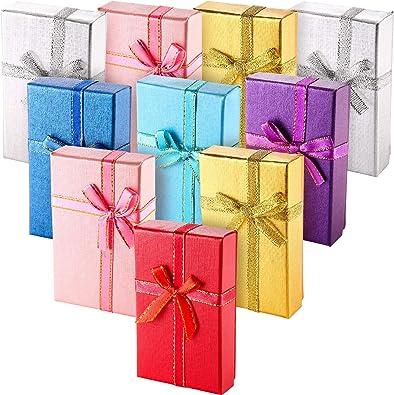 12 Piezas de Caja de Regalo de Anillo de Cartón Caja de Joyería Caja de Embalaje para Collar Pendientes Regalo, Colores al Azar (Caja de Anillo Rectangular): Amazon.es: Joyería