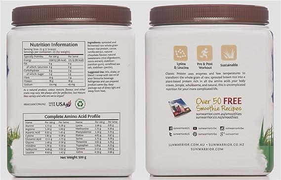 Sunwarrior - Proteínas Vegetales Classic Protein Chocolate 500g