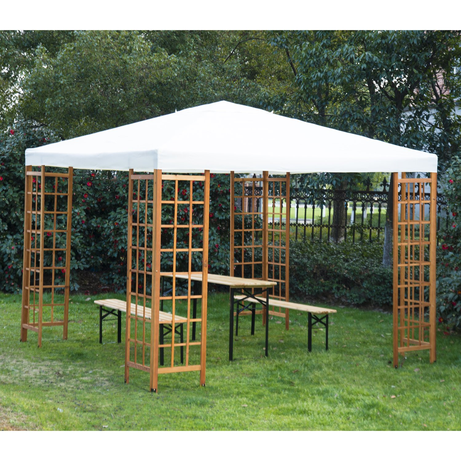 Outsunny 3 X M Patio Garden Wooden Framed Gazebo Marquee Sun Shade Party Tent Canopy Shelter Pavilion Without Table Beige