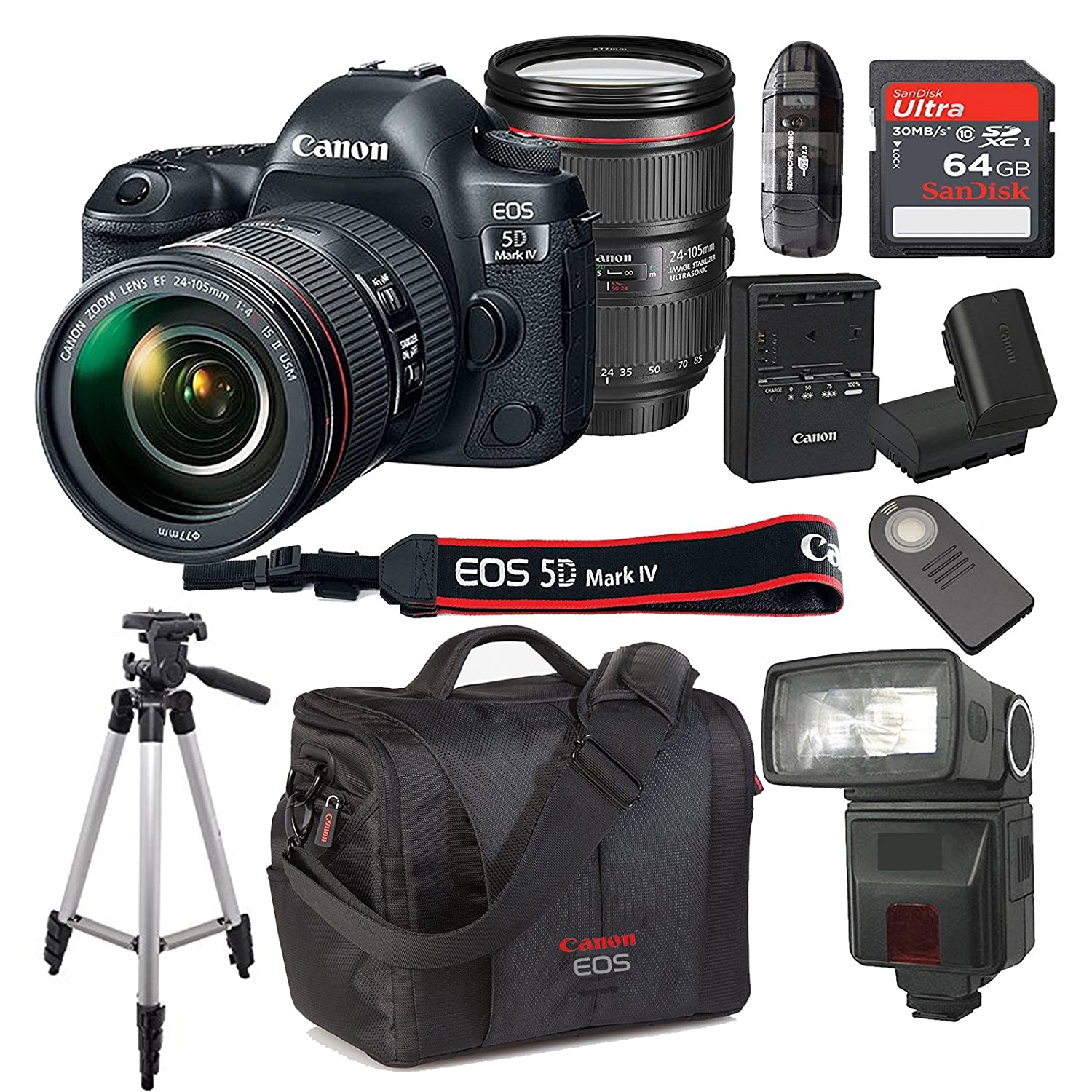 Canon Eos 5d Mark Iv With 24 105mm F 4 L Is Ii Usm Lens Body Only Camera Dslr Kit Bundle 64gb High Speed Memory Card 300dg Deluxe Bag Wireless