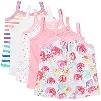 HonestBaby Girls' 5-Pack Organic Cotton Cami Tops