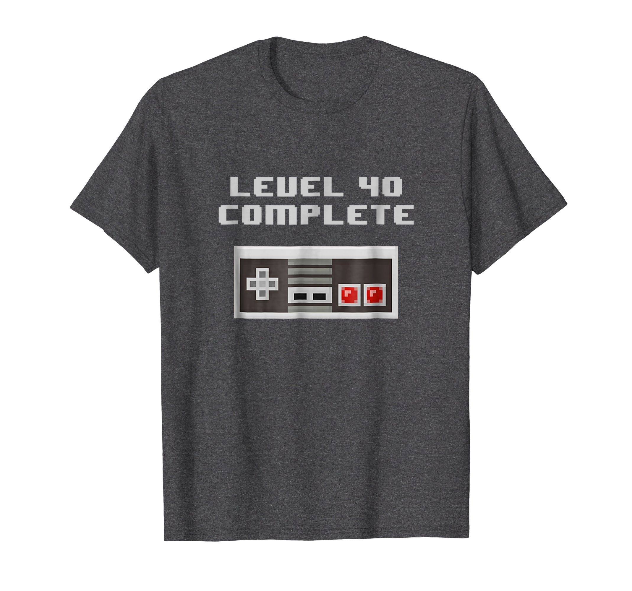Mens Level 40 Complete retro video games 40th Birthday Fun TShirt 2XL Dark Heather