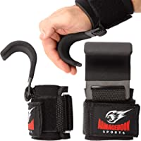 Armageddon Sports Premium Weight Lifting Wrist Hooks Straps for Maximum Grip Support - Deadlift Gloves and Grip Pads…