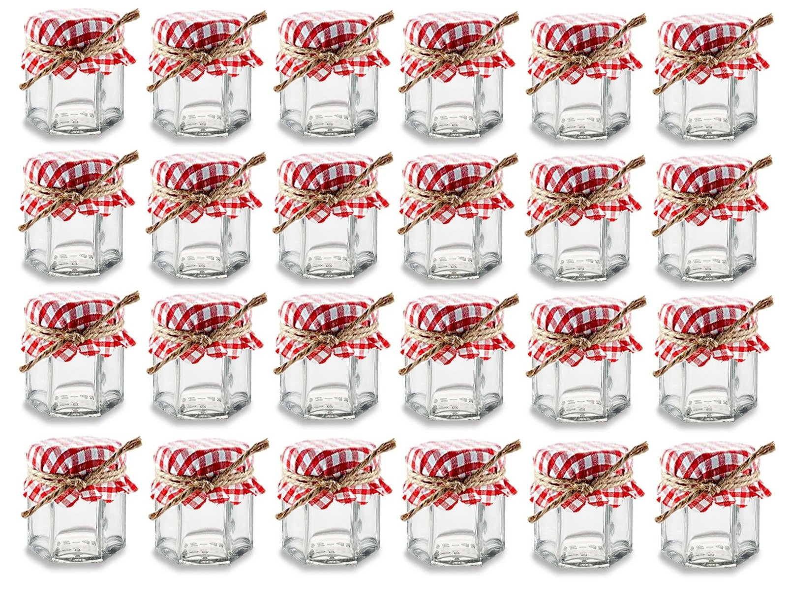 Nakpunar 24 pcs 1.5 oz Hexagon Glass Jars with Red Gingham Fabric Cover and Hemp Twine - Party, Wedding, Baby Shower Favor Gift Set