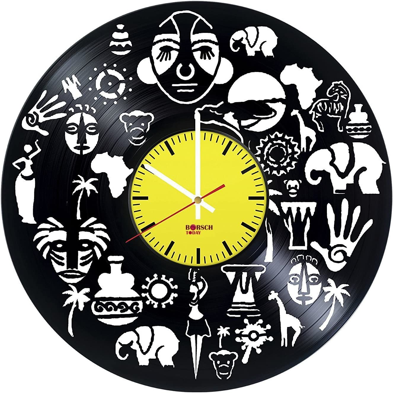 Amazon Com Africa Travel Handmade Vinyl Record Wall Clock Get Unique Living Room Wall Decor Gift Ideas For Men And Women Africa Culture Unique Modern Art Home Kitchen