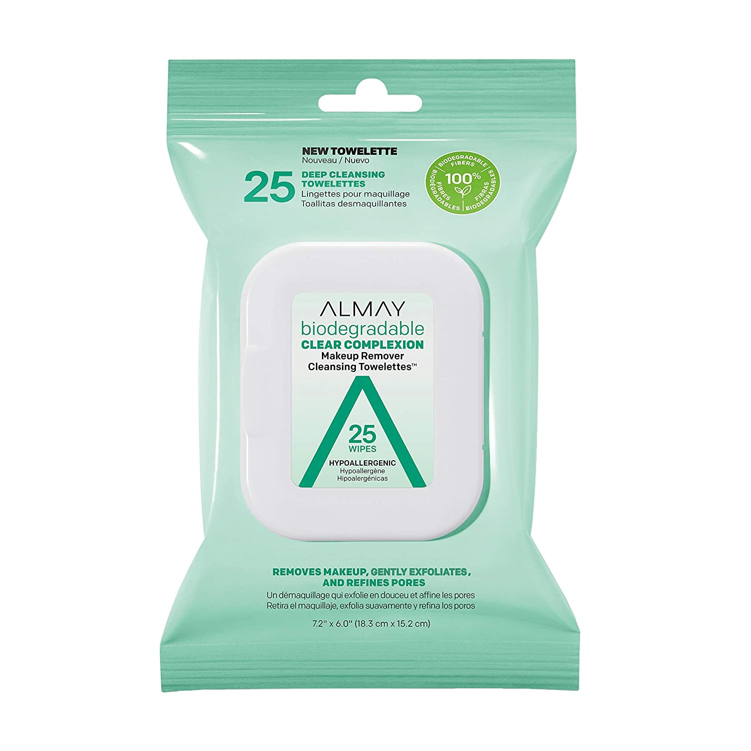 Almay Biodegradable Clear Complexion Makeup Remover Cleansing Towelettes, Hypoallergenic, Cruelty Free, Fragrance Free, Dermatologist Tested, 25 Makeup Remover Wipes