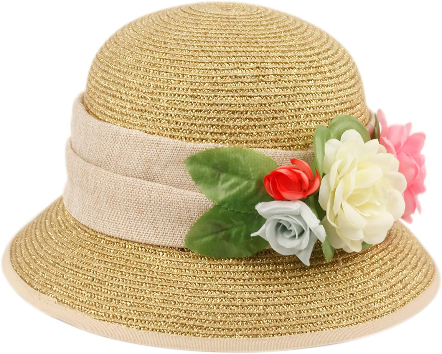 Womens Gatsby Linen Cloche Hat with Lace Band and Flower