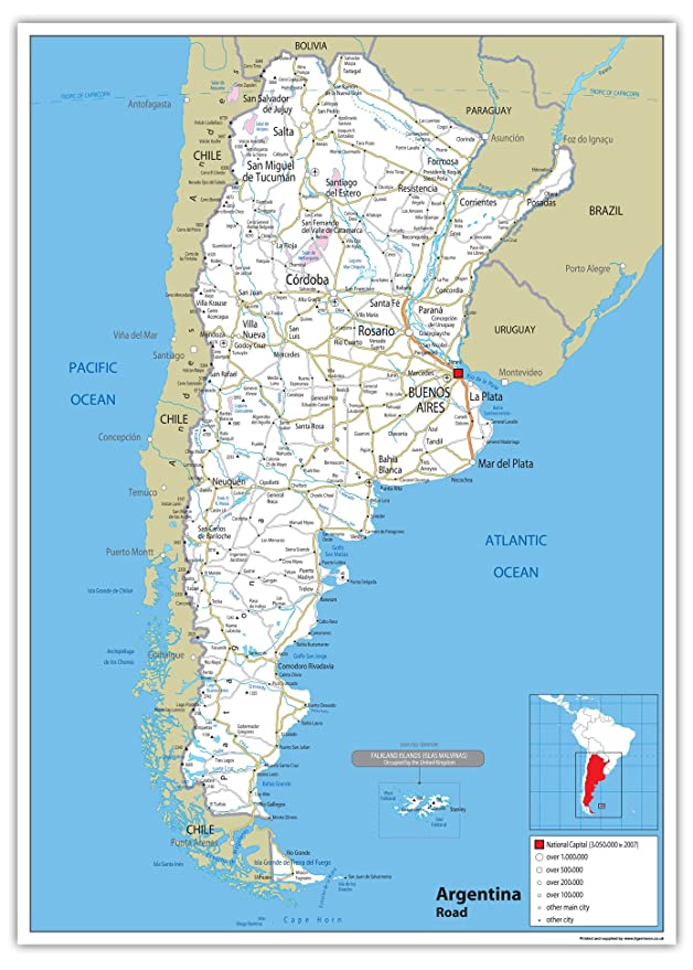 Argentina Road Map Paper Laminated A0 Size 84 1 x 118 9 cm