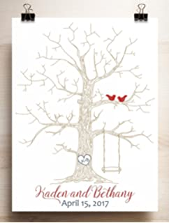 wedding guest book alternative thumbprint tree with swing for fingerprints and lovebirds