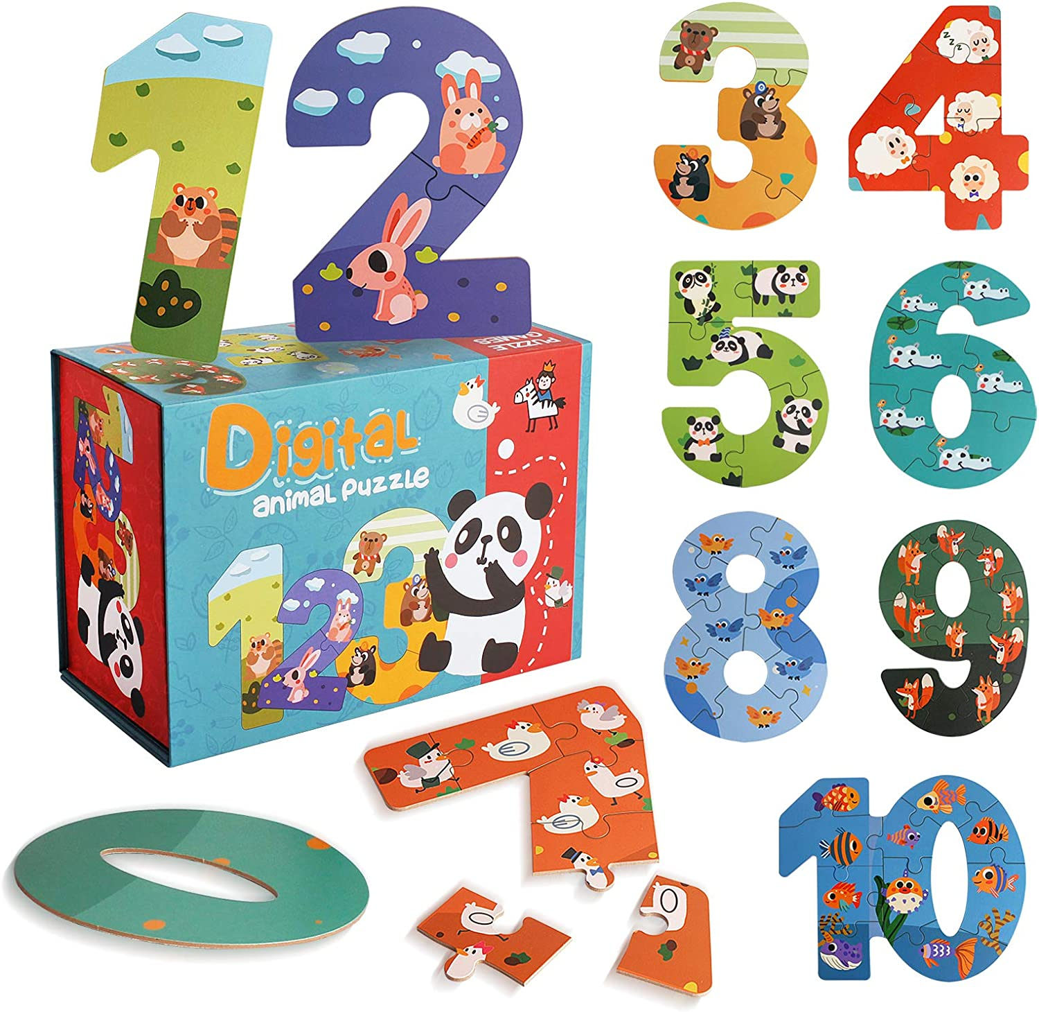 56 PCs Colorful Density Wooden Board Animal Digital Numbers Jigsaw Puzzle Toys Color Recognition Kit with Box Montessori STEM Game Set for Kids 3 Years Old Boys and Girls