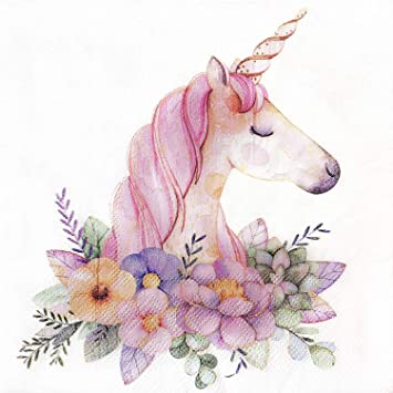 4 Single Lunch Paper Napkins for Decoupage Craft Vintage Unicorn Napkin Art