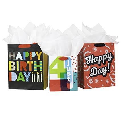 Amazon Hallmark Birthday Gift Bag Assortment With Tissue Paper Happy Day Pack Of 3 Medium And Large Kitchen Dining