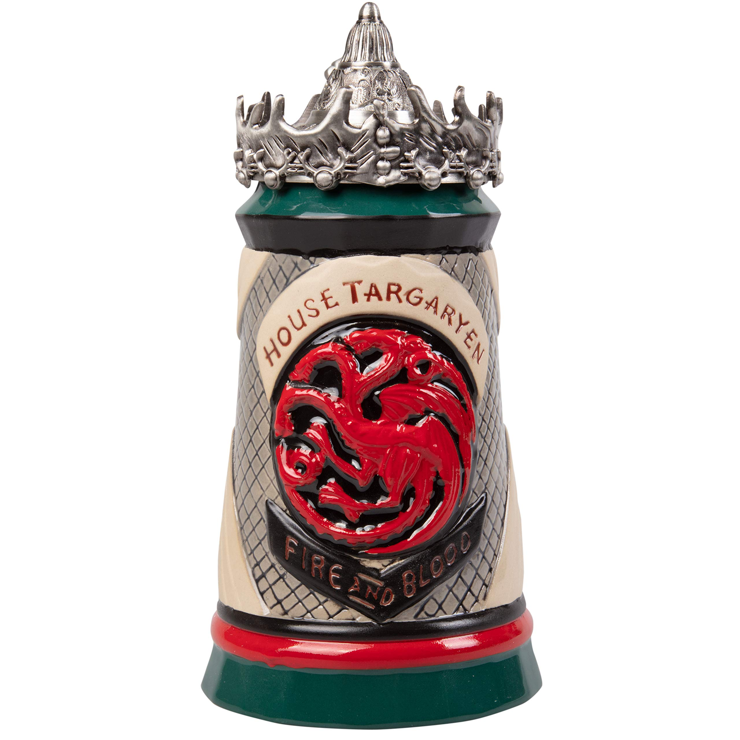 Game of Thrones House Targaryen Stein - 22 Oz Ceramic Base with Pewter Baratheon Crown Top by Game of Thrones (Image #1)