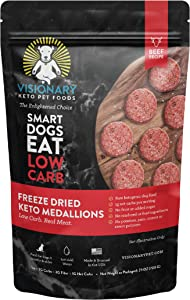 Freeze Dried Dog Food by Visionary Pet |Low Carb Keto Dog Food from Human-Grade Ingredients | Natural Beef Flavor | No Rendered/Feed Ingredients | Natural Dog Food for Lifelong Health (25oz)