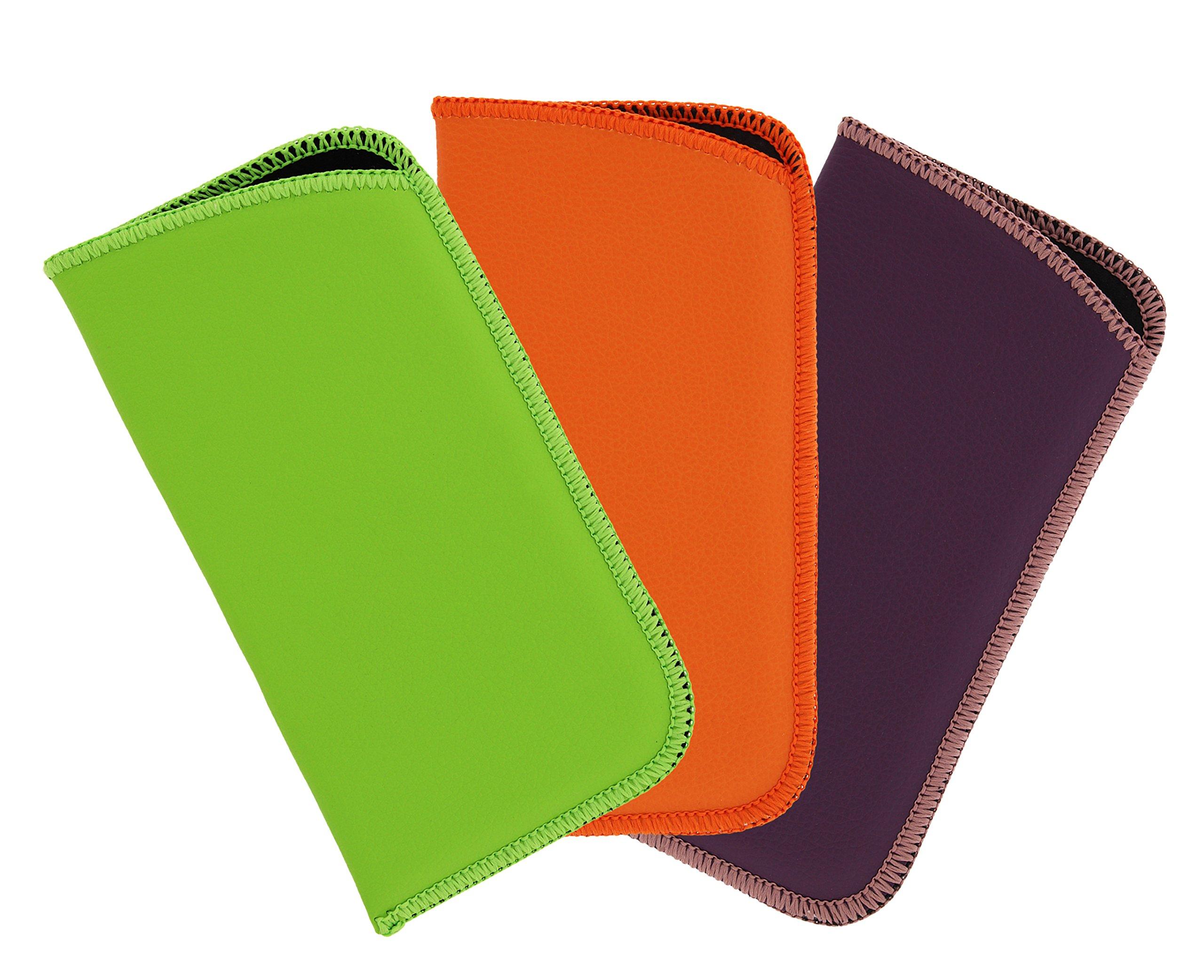 3 Pack Faux Leather Soft Slip In Eyeglass Case For Women & Men, Green/Orange/Purple