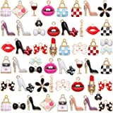 52 Pieces Gold Plated Enamel Women Perfume Purse High Heels Bow Charms Makeup Lipstick Mixed Enamel Rhinestone Women…