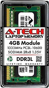 A-Tech 4GB DDR3/DDR3L 1333MHz PC3-10600 Laptop RAM SODIMM Module   2Rx8 1.35V Non-ECC Unbuffered 204-Pin Memory Upgrade Stick