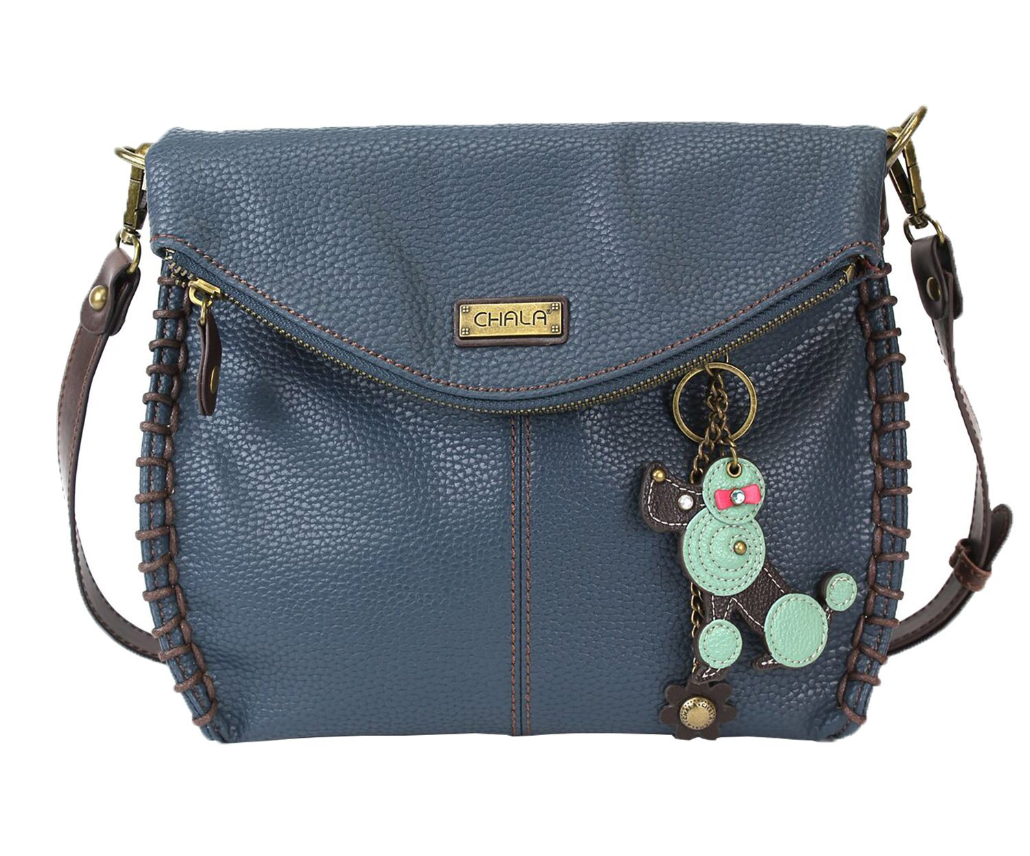 Chala Charming Crossbody Bag - Flap Top and Metal Key Charm in Navy Blue, Cross-Body or Shoulder Purse - Poodle