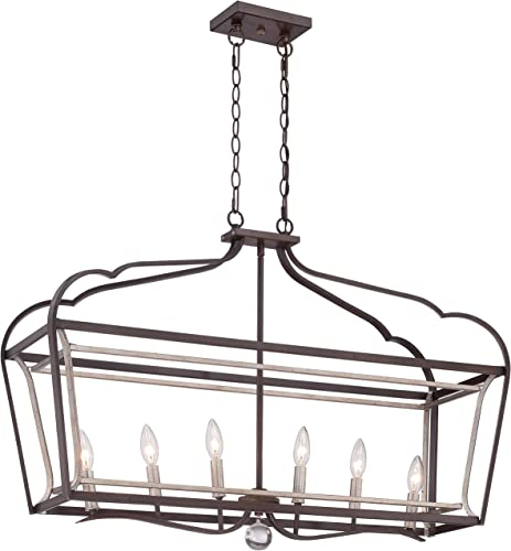 Minka Lavery 4346-593 Astrapia Large Linear Island Pendant Ceiling Lantern Lighting, 6 Light, 360 Watts, Dark Rubbed Sienna