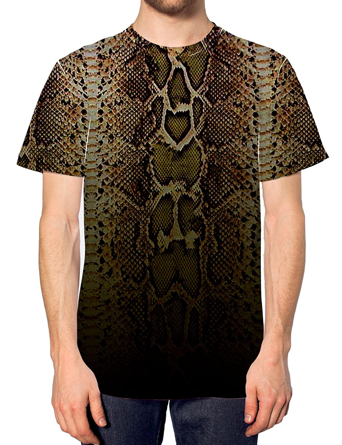 1d0cdf80 Snake All Over Print T shirt Lad Mens Top Swag Indie Animal Print Lizard  Ombre: Amazon.co.uk: Clothing