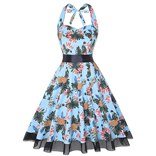 OTEN Vintage Dresses, Women Floral Print 1950s Rockabilly Halter Swing Dress