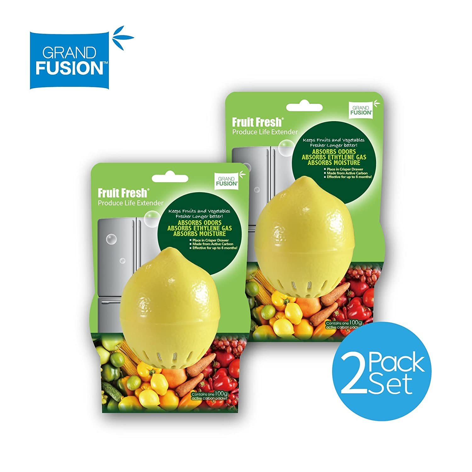 Fruit Fresh Produce Life Extender 2 Pack Set - Keeps Fruit and Vegetables Fresh Longer in the Refrigerator, Removes Odor & Moisture