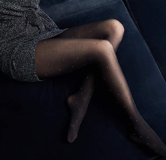 48fd524118e Swedish Stockings Filippa Dots Black Pantyhose 50 Den Luxury Patterned  Tights at Amazon Women s Clothing store