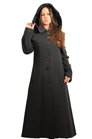 CHARCOAL WOOL WOMENS FAUX FUR TRIM HOODED LONG WINTER COAT: Amazon ...