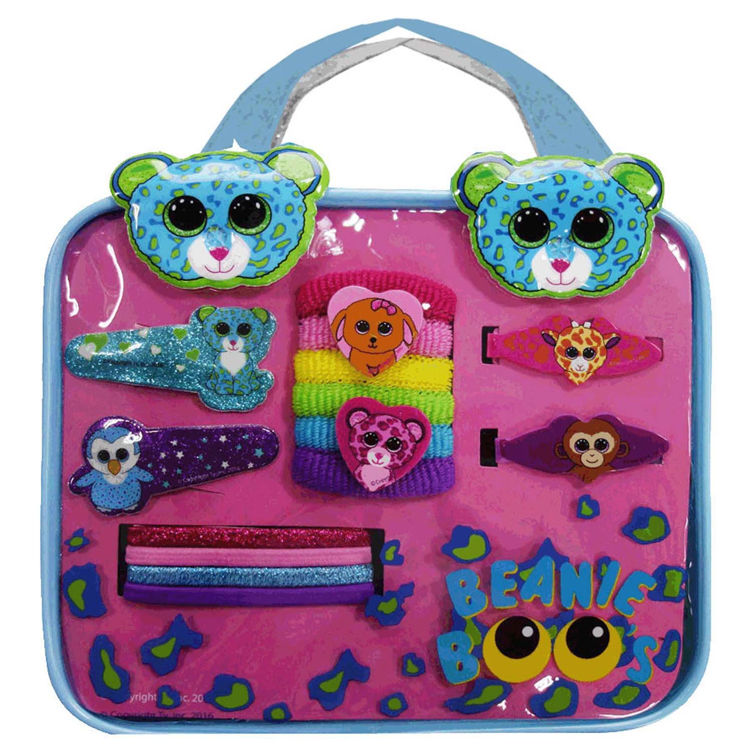 Amazon.com  Beanie Boo Hair Accessory Bag Set Blue Leopard Leona  Toys    Games 3d6dbbbf996