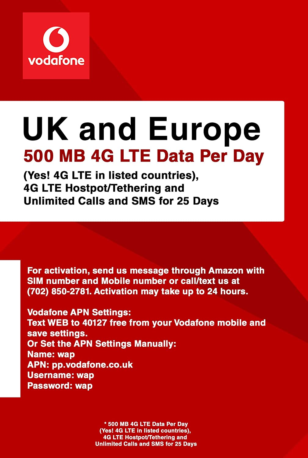 Amazon com: Vodafone UK and Europe 500MB 4G LTE Data Daily