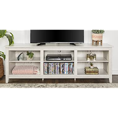 WE Furniture 70  Wood Media TV Stand Console - White Wash