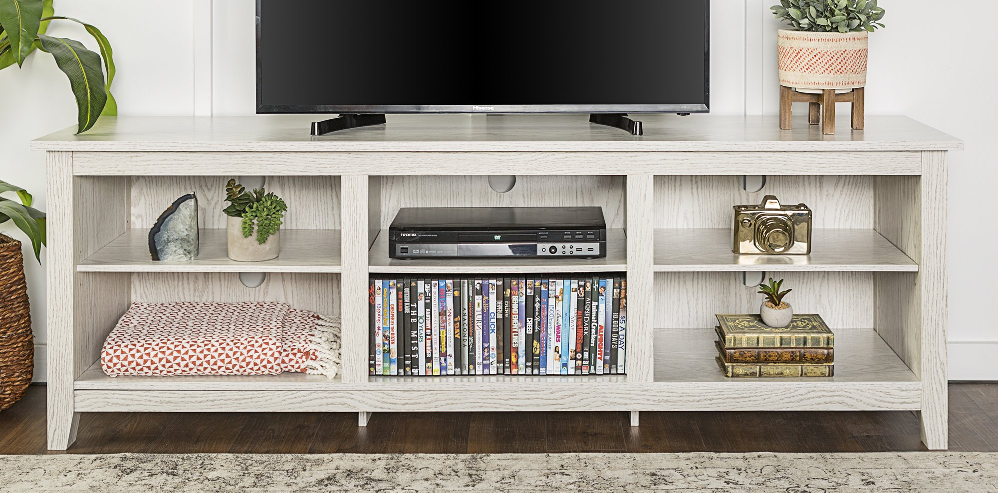WE Furniture 70'' Wood Media TV Stand Console - White Wash