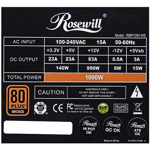 amazon com rosewill gaming power supply psu 1000 watt 1000w 80