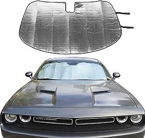 JeCar Front Windshield Sunshade Challenger Sunshade Car Sun Shade Heat Shield Custom-fit Sunshade Sun Visor Mat for Dodge Challenger 2009 2010 2011 2012 2013 2014 2015 2016 2017 2018 2019