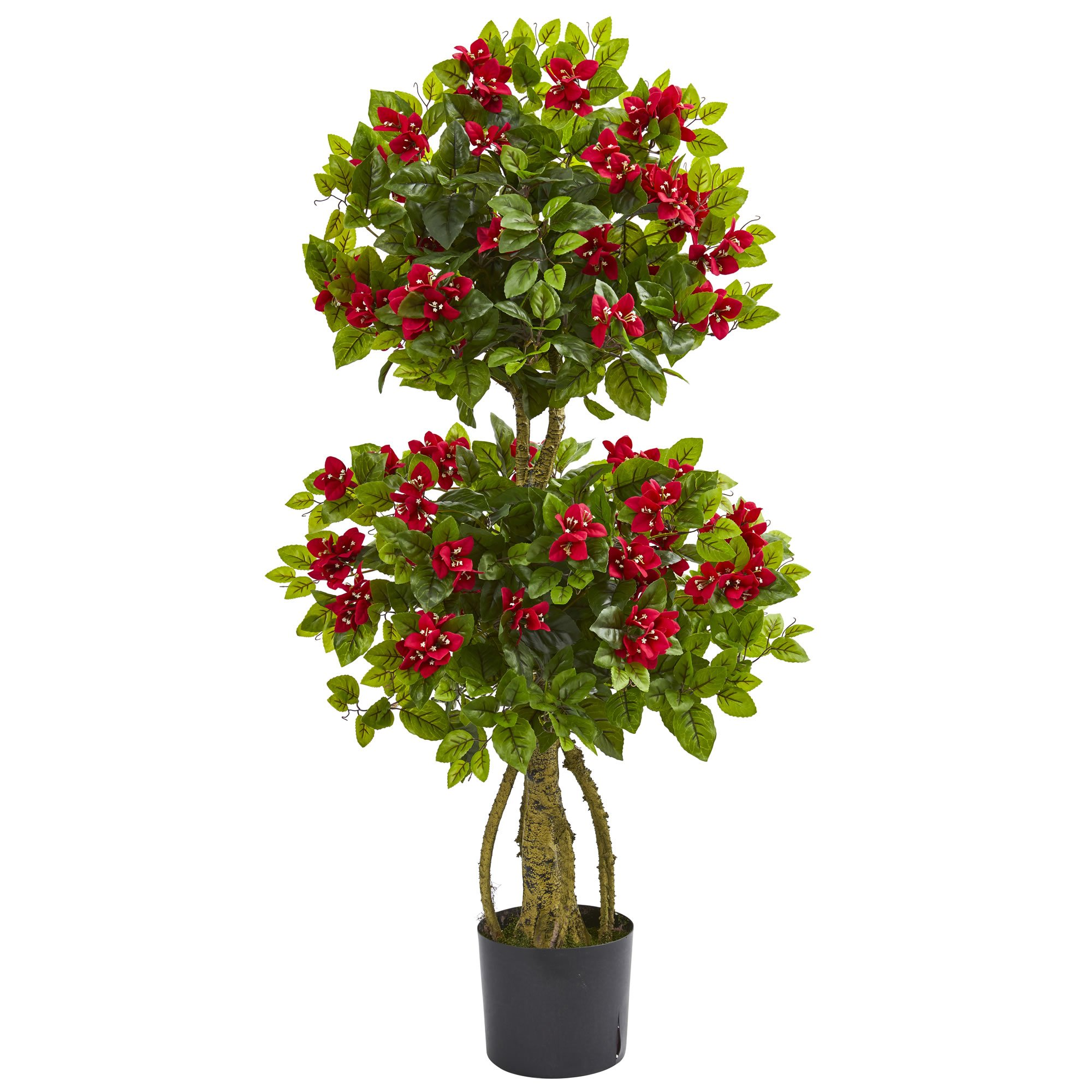 Nearly Natural 4' Double Bougainvillea Artificial Topiary Tree 4, Red by Nearly Natural