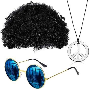 Gejoy Ensemble de Costume Hippie Perruque Afro Funky Lunettes de Soleil Collier Signe de Paix pour Soirée à Thème 506070 (Noir)