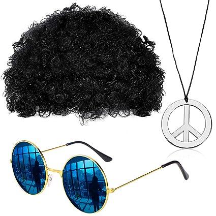 Gejoy Set Di Costumi Hippie Parrucca Afro Collana Occhiali
