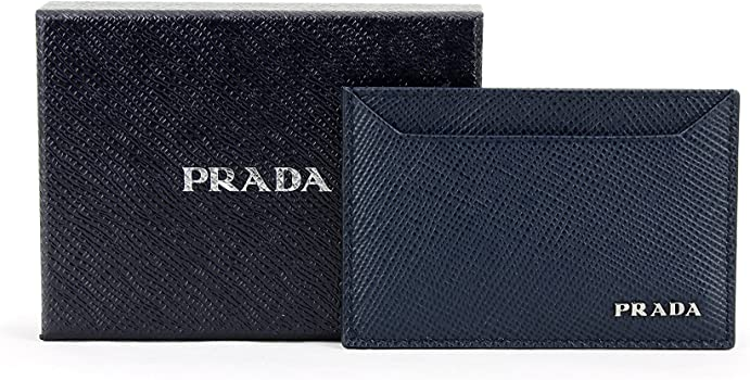 36f25f7c Prada Saffiano Cuir Logo Plaque Card Case, Navy (Baltico) 2MC208 ...