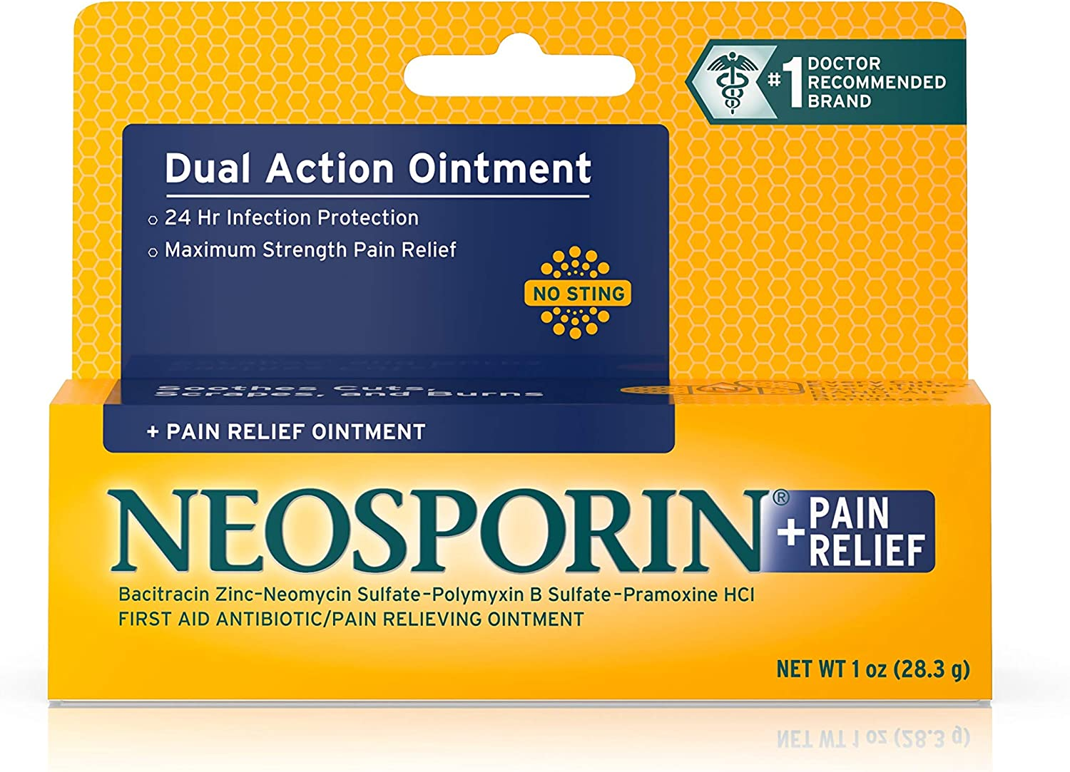 Neosporin + Maximum-Strength Pain Relief Dual Action Antibiotic Ointment with Bacitracin Zinc, 1 oz: Health & Personal Care