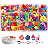 Pnbb Colorful Acrylic Beads Toy DIY Jewelry for Children Necklace and Bracelet Crafts - Style B About 554-piece Set
