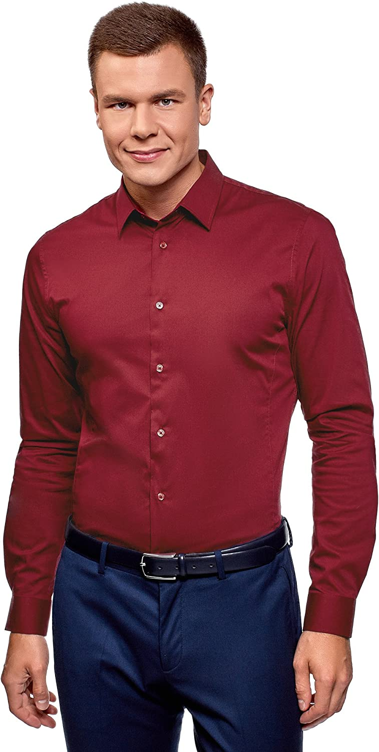 oodji Ultra Homme Chemise Basique Extra Slim /à Manches Longues