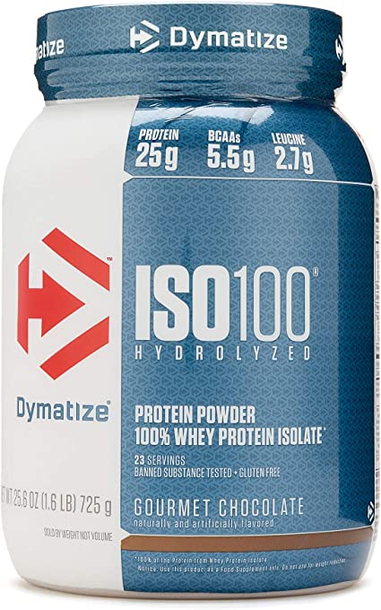 Amazon Com Dymatize Iso 100 Hydrolyzed Whey Protein Isolate Gourmet Chocolate 1 6 Lbs Health Personal Care