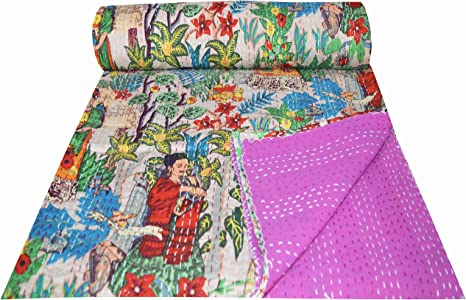 kantha quilt new dark indigo kantha quilt real kantha work indian quilt handmade quilt