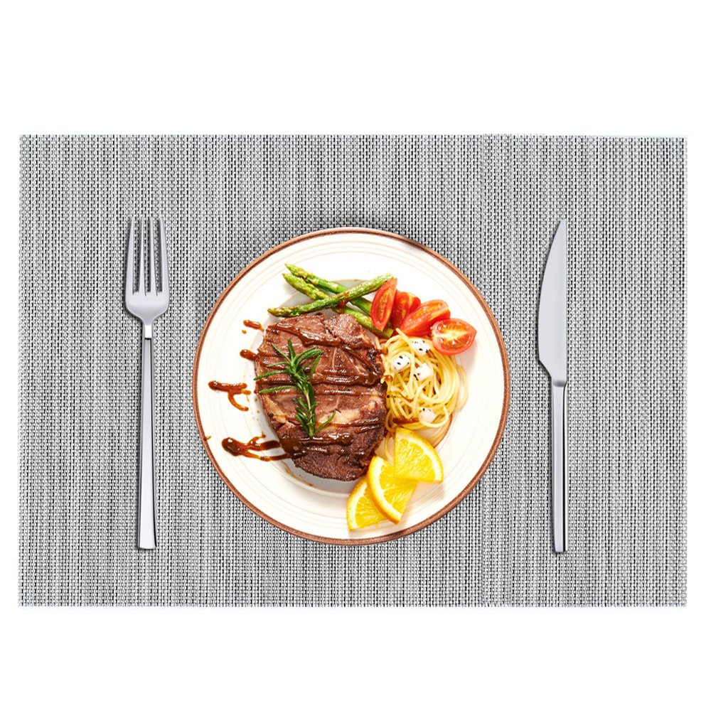 Placemats,HQSILK Table Mats,Placemat Set of 6 Non-Slip Washable Place Mats,Heat Resistant Kitchen Tablemats for Dining Table (Gray) by HQSILK (Image #2)