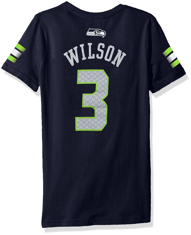 NFL Girls 7 16 Russell Wilson Seattle Seahawks Main Stripes V Neck Player Name Number Short Sleeve Tee Medium 10 12 Dark Navy
