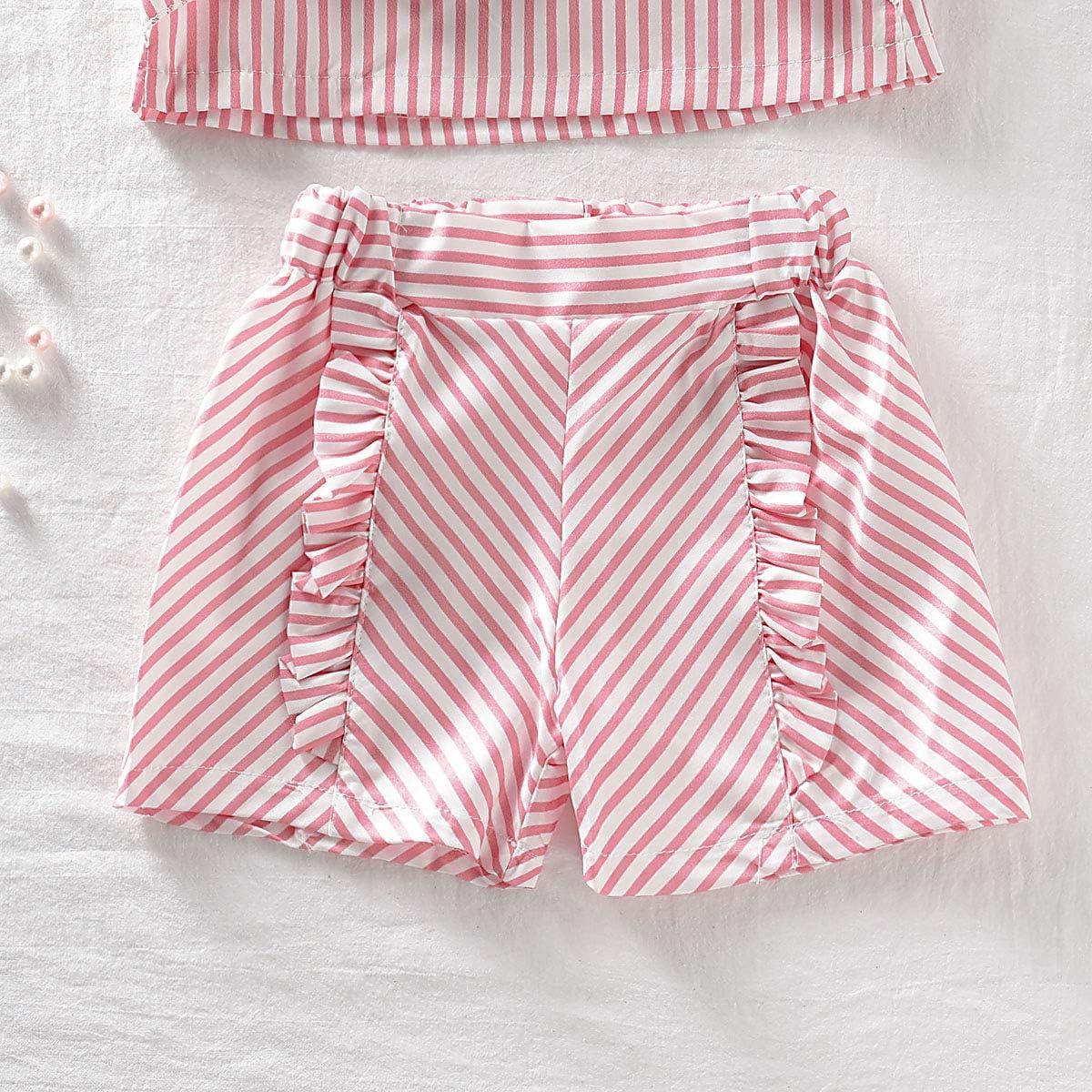 Toddler Baby Girl Floral Halter Ruffled Outfits Set Strap Crop Tops+Short Pants 2 PCS Clothes Set